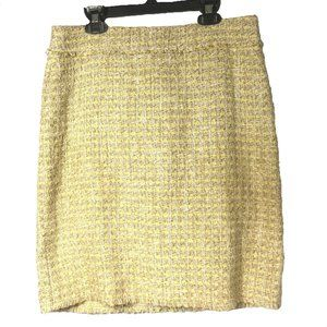 Ann Taylor Boucle Tweed Yellow Lined Skirt size 6